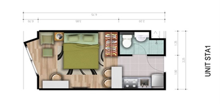 Type Unit 1 Bedroom A1